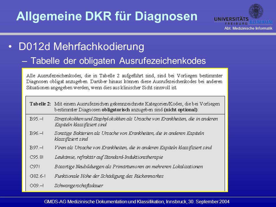 Allgemeine DKR für Diagnosen