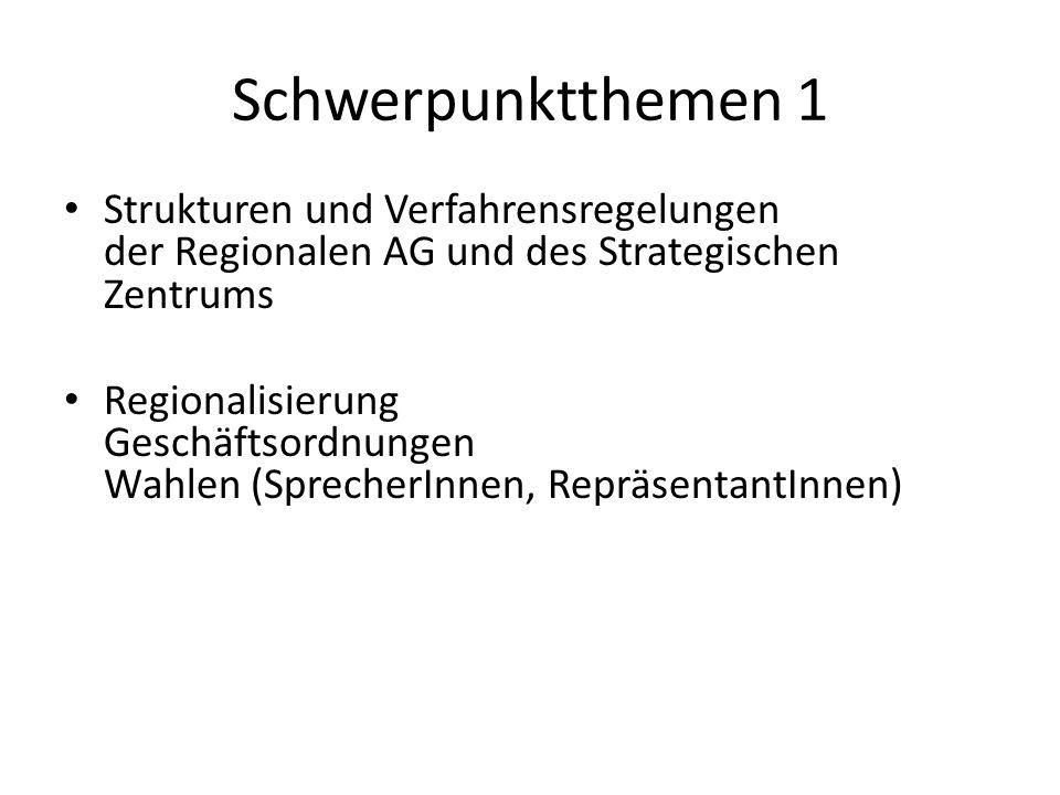 Schwerpunktthemen 1Strukturen und Verfahrensregelungen der Regionalen AG und des Strategischen Zentrums.