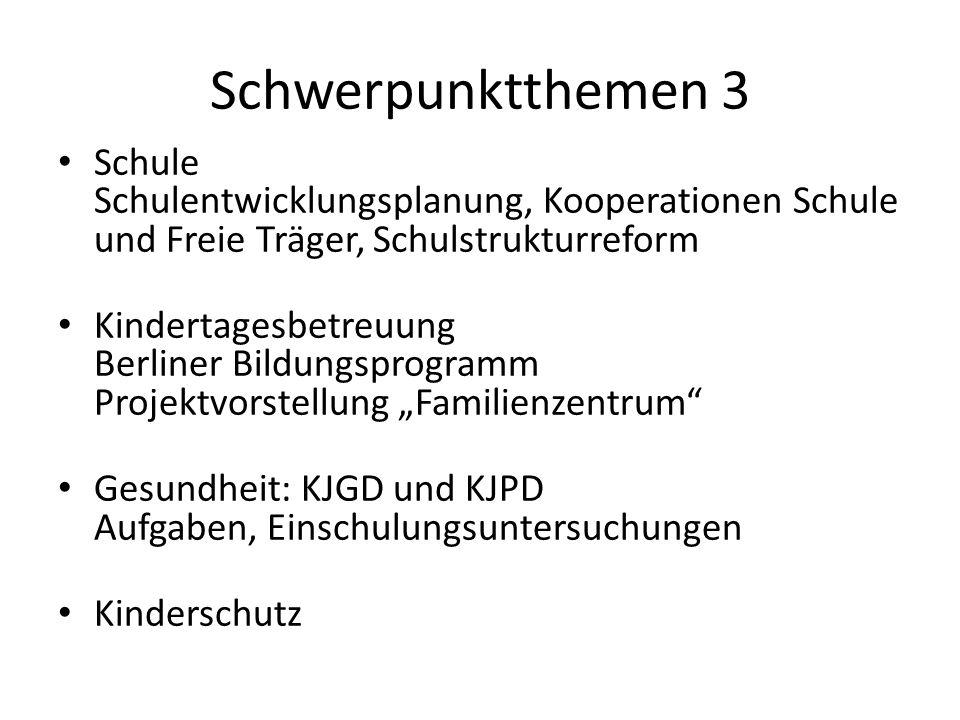 Schwerpunktthemen 3Schule Schulentwicklungsplanung, Kooperationen Schule und Freie Träger, Schulstrukturreform.