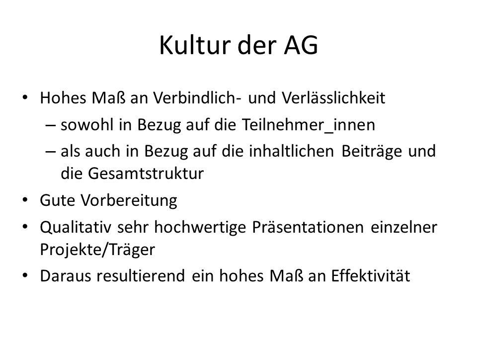 Kultur der AG Hohes Maß an Verbindlich- und Verlässlichkeit