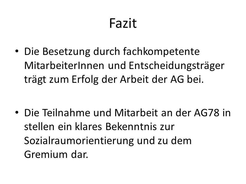FazitDie Besetzung durch fachkompetente MitarbeiterInnen und Entscheidungsträger trägt zum Erfolg der Arbeit der AG bei.