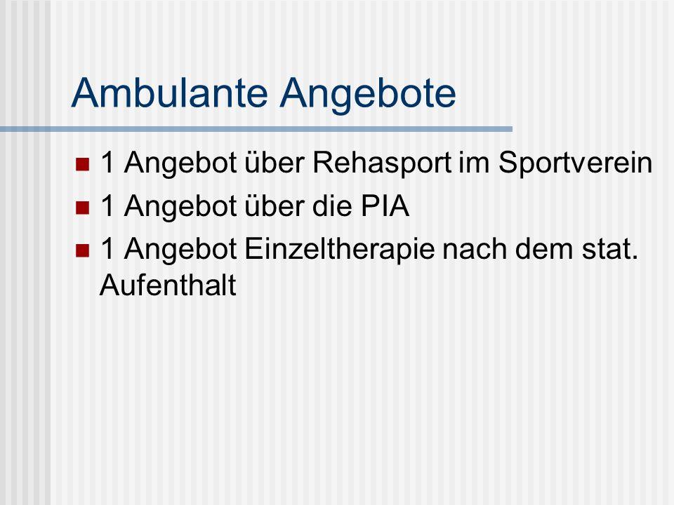 Ambulante Angebote 1 Angebot über Rehasport im Sportverein