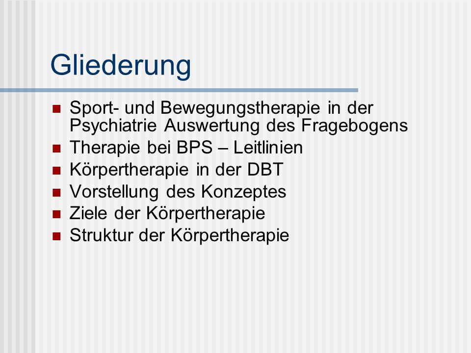 Gliederung Sport- und Bewegungstherapie in der Psychiatrie Auswertung des Fragebogens. Therapie bei BPS – Leitlinien.