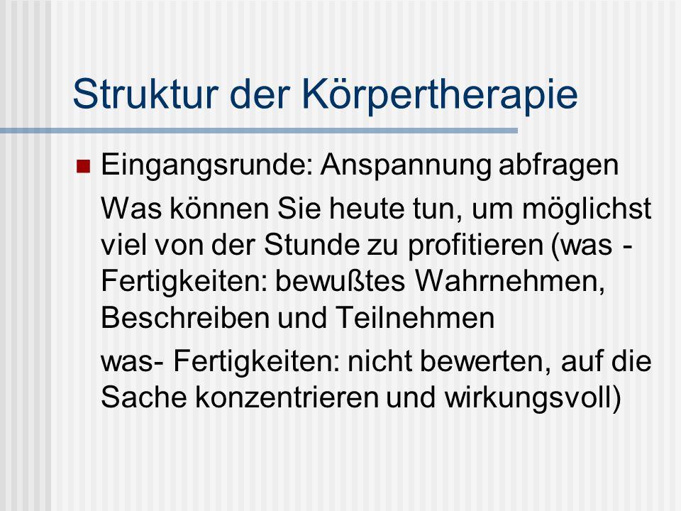 Struktur der Körpertherapie
