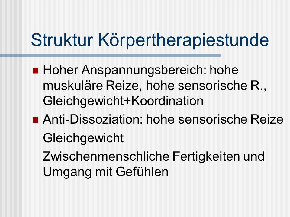 Struktur Körpertherapiestunde