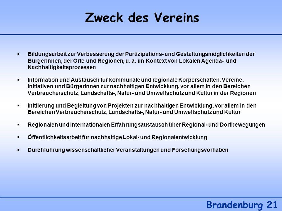 Zweck des Vereins Brandenburg 21