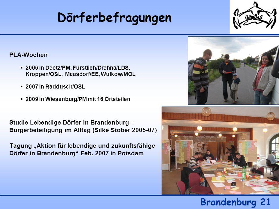 Dörferbefragungen Brandenburg 21 PLA-Wochen