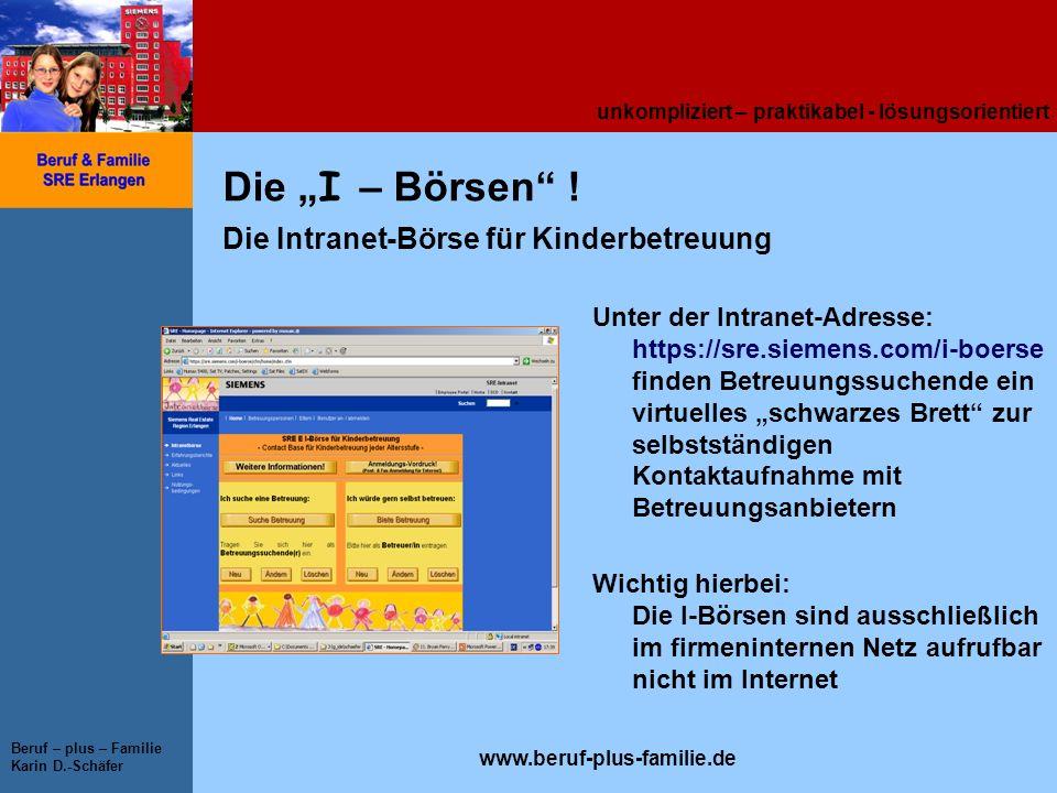 """Die """"I – Börsen ! Die Intranet-Börse für Kinderbetreuung"""