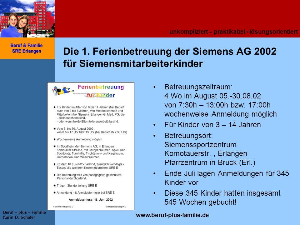 Die 1. Ferienbetreuung der Siemens AG 2002 für Siemensmitarbeiterkinder