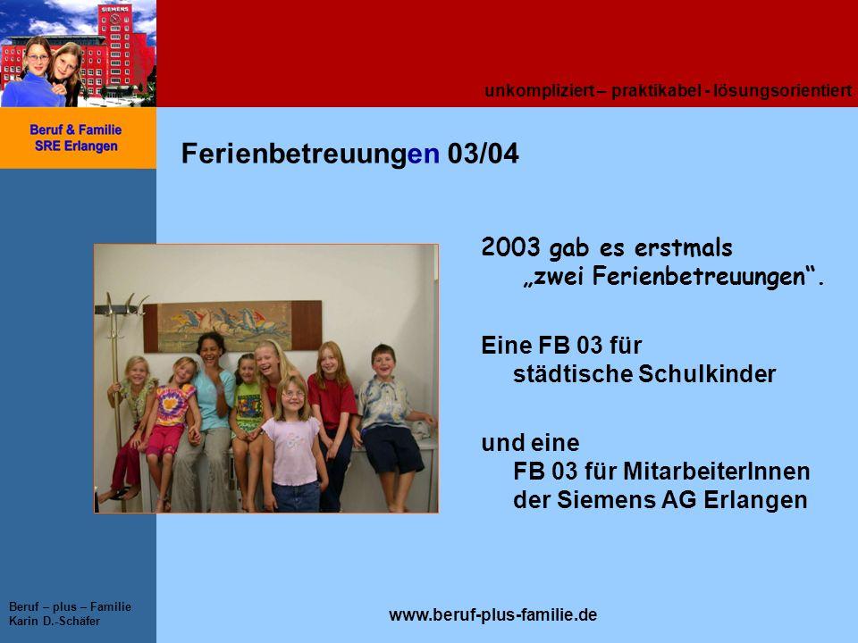 """Ferienbetreuungen 03/04 2003 gab es erstmals """"zwei Ferienbetreuungen ."""