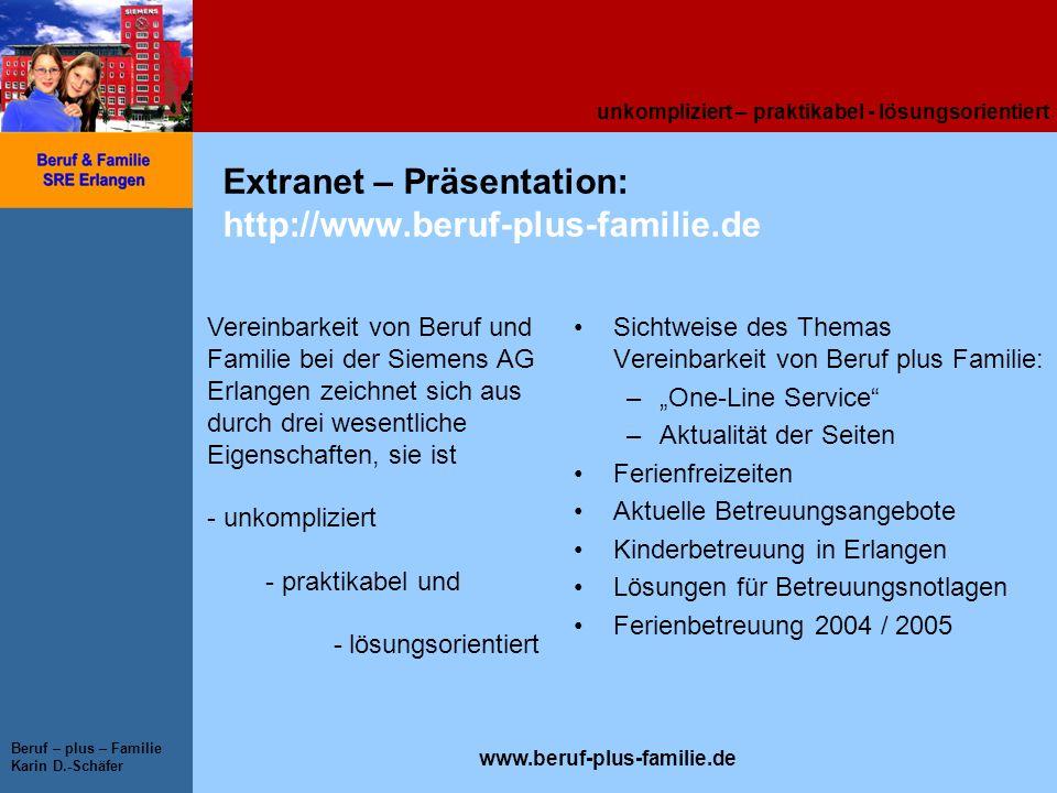 Extranet – Präsentation: http://www.beruf-plus-familie.de