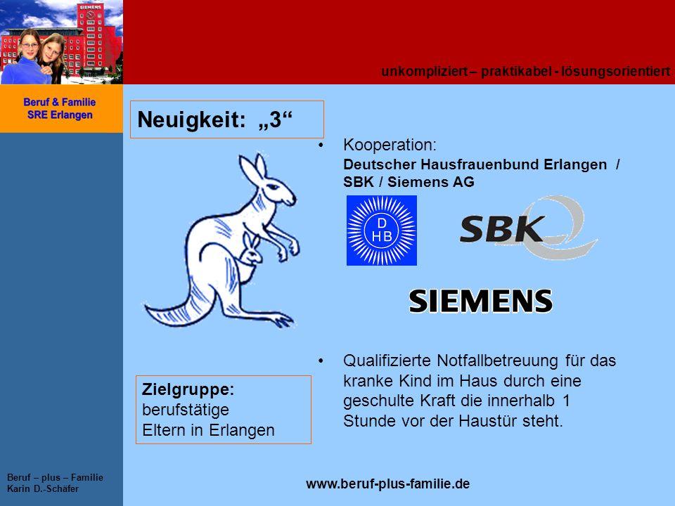 """Neuigkeit: """"3 Kooperation: Deutscher Hausfrauenbund Erlangen / SBK / Siemens AG."""
