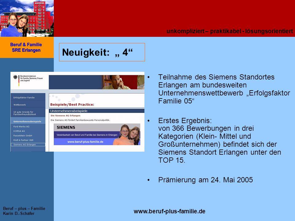 """Neuigkeit: """" 4 Teilnahme des Siemens Standortes Erlangen am bundesweiten Unternehmenswettbewerb """"Erfolgsfaktor Familie 05"""