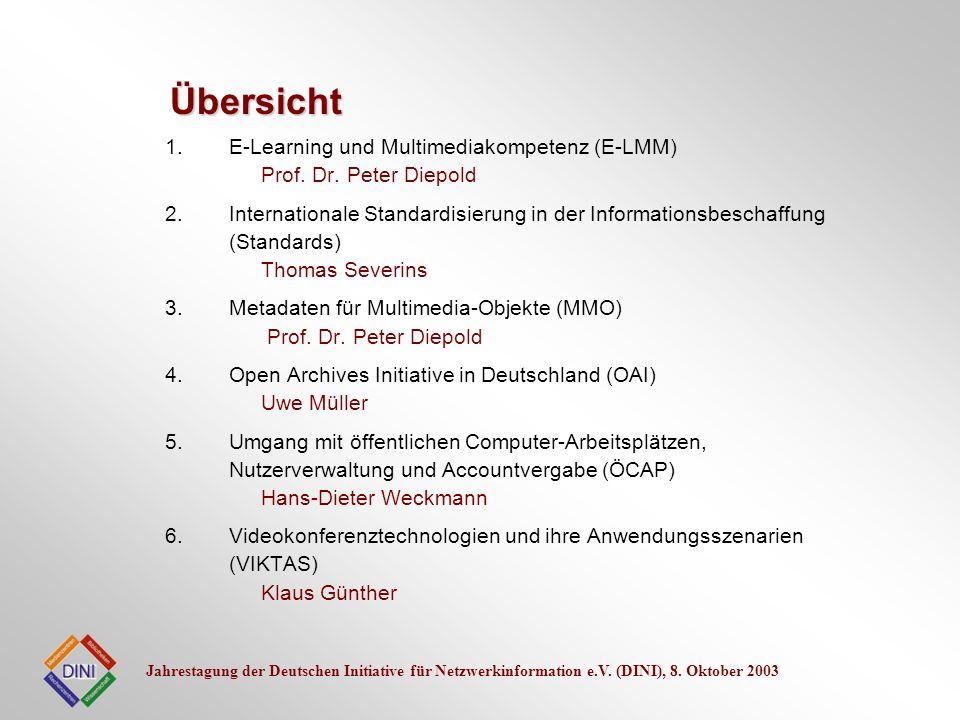 Übersicht E-Learning und Multimediakompetenz (E-LMM) Prof. Dr. Peter Diepold.