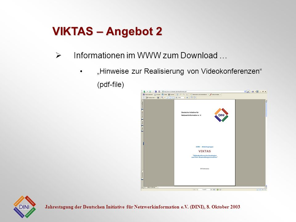 VIKTAS – Angebot 2 Informationen im WWW zum Download …