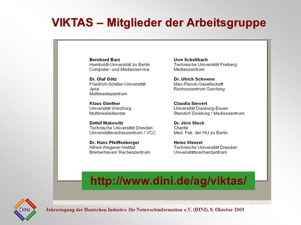 VIKTAS – Mitglieder der Arbeitsgruppe