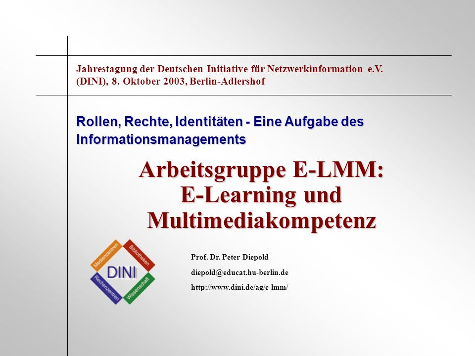 Arbeitsgruppe E-LMM: E-Learning und Multimediakompetenz