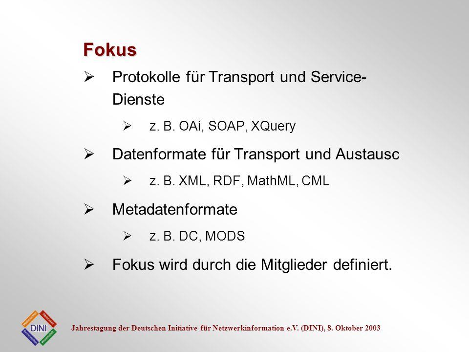 Fokus Protokolle für Transport und Service-Dienste