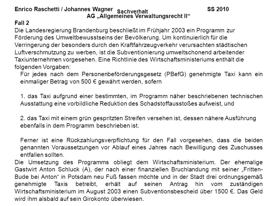 """AG """"Allgemeines Verwaltungsrecht II"""