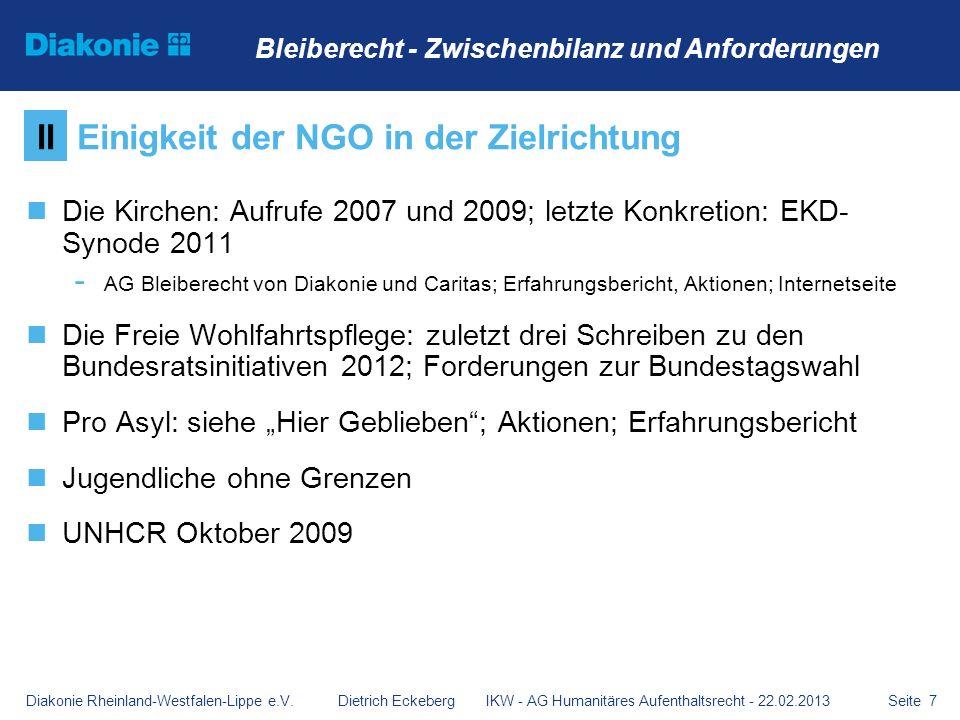 Einigkeit der NGO in der Zielrichtung