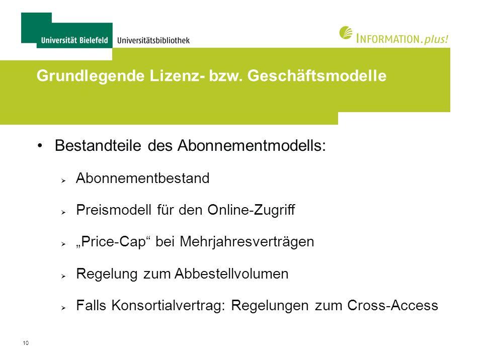 Grundlegende Lizenz- bzw. Geschäftsmodelle