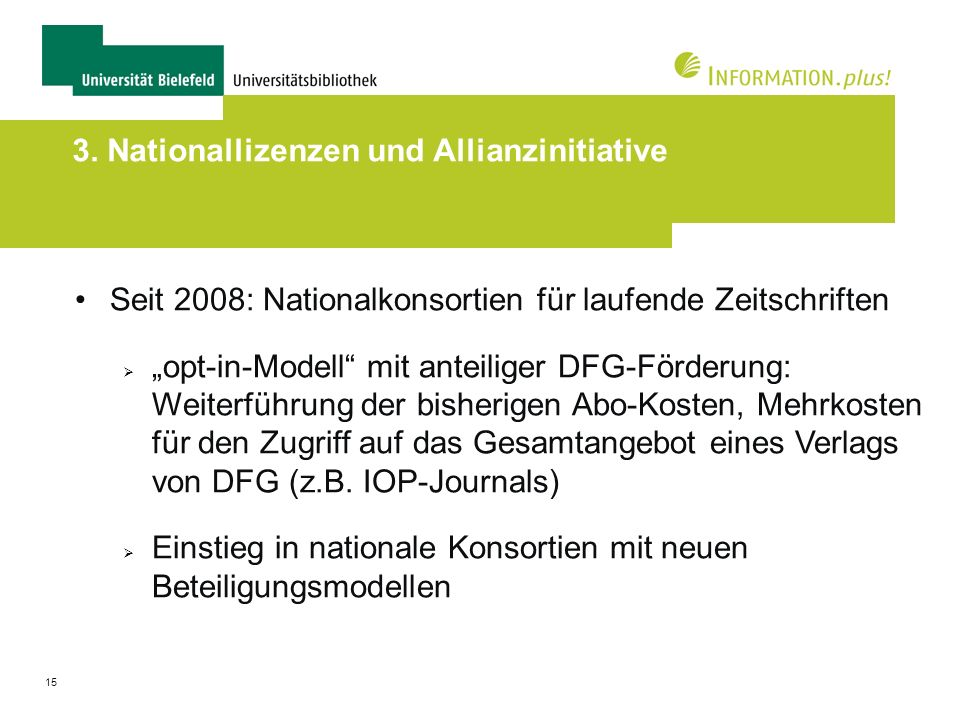3. Nationallizenzen und Allianzinitiative