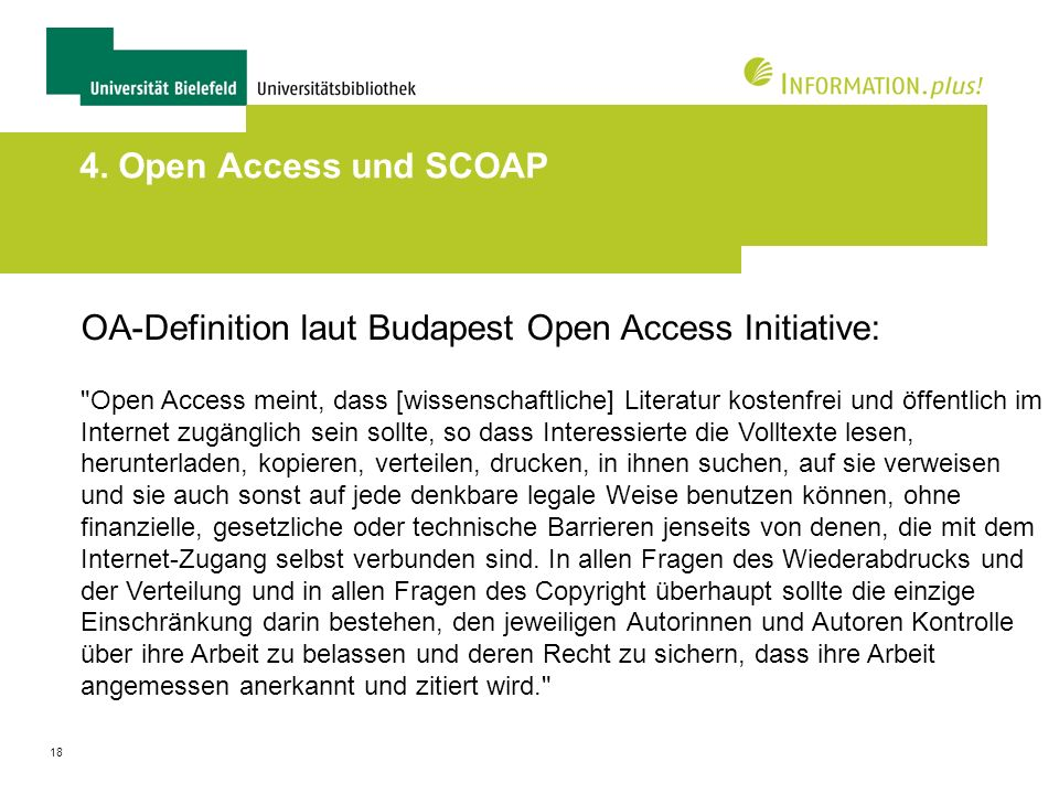 OA-Definition laut Budapest Open Access Initiative: