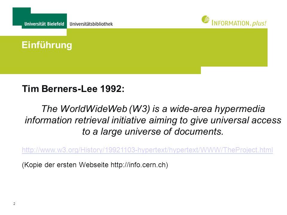 Einführung Tim Berners-Lee 1992: