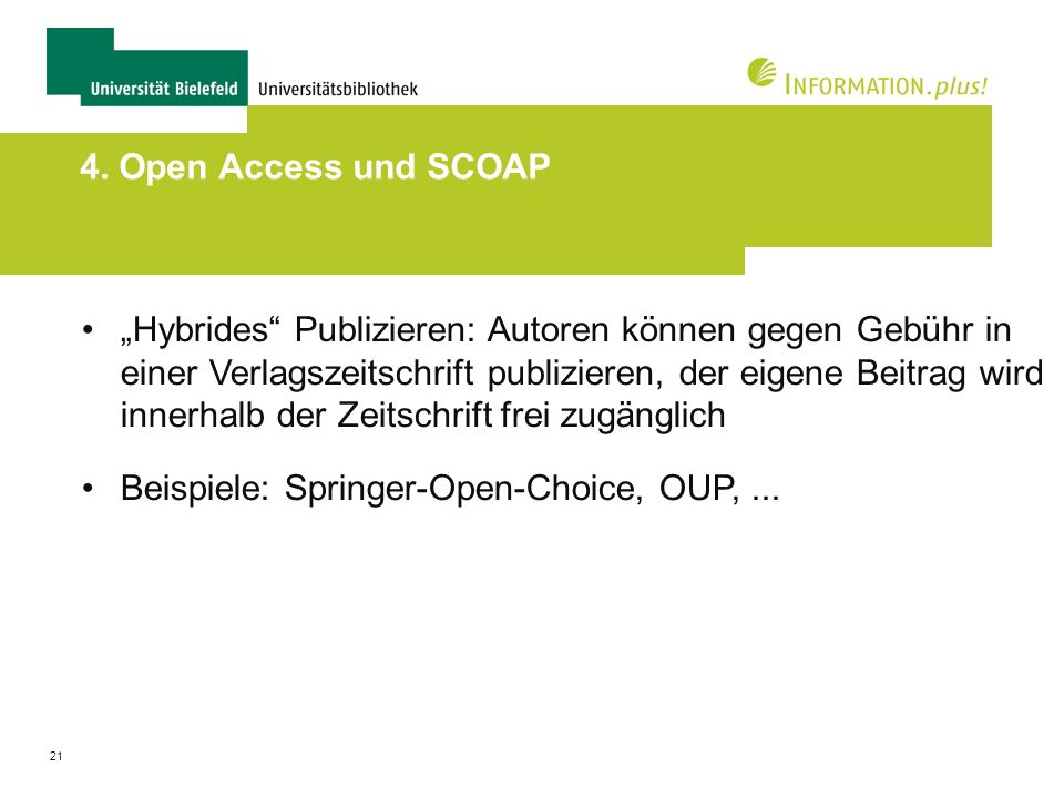 4. Open Access und SCOAP