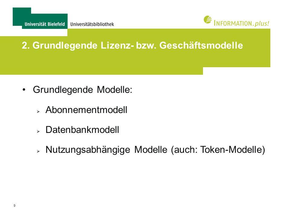 2. Grundlegende Lizenz- bzw. Geschäftsmodelle