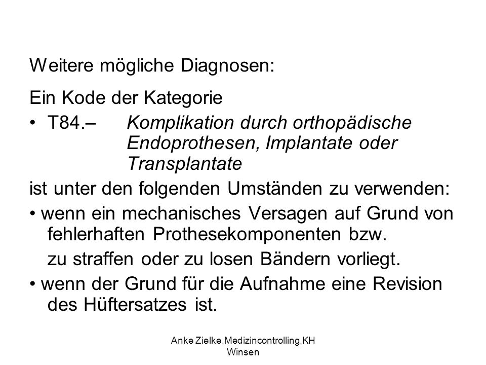Weitere mögliche Diagnosen:
