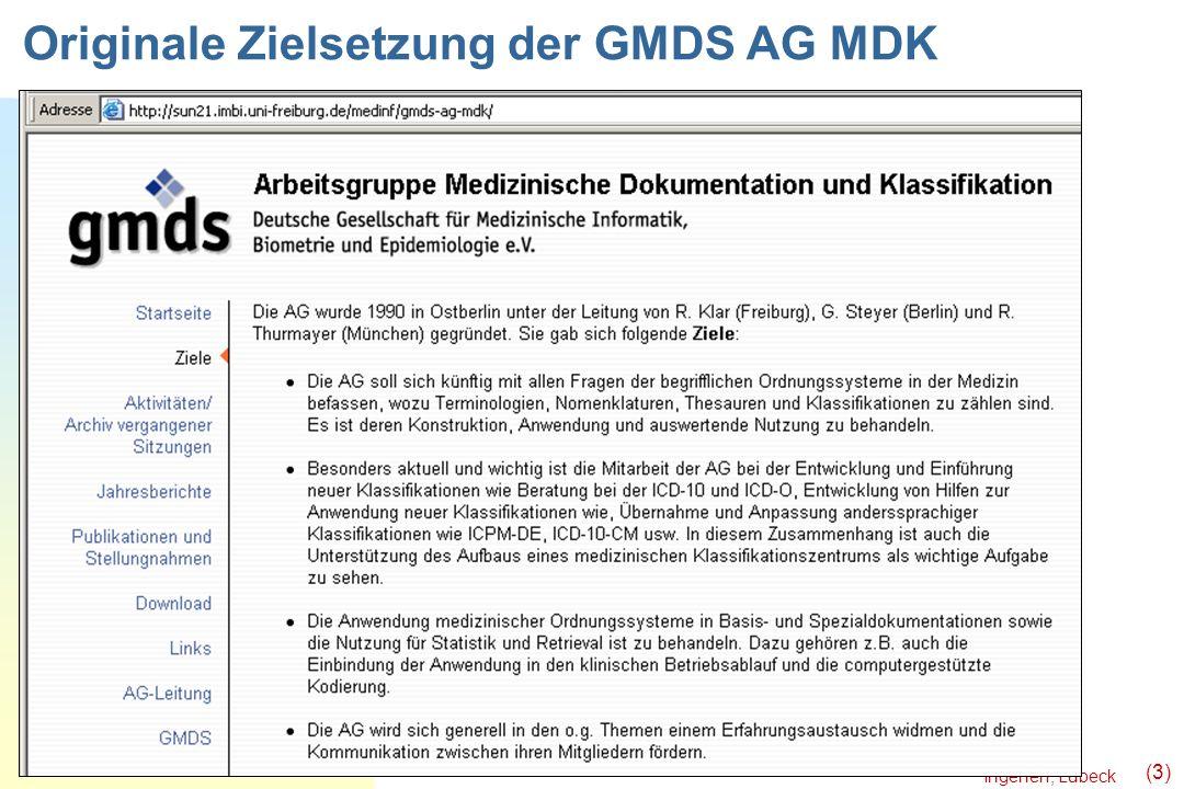 Originale Zielsetzung der GMDS AG MDK