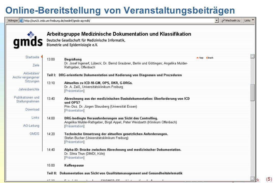 Online-Bereitstellung von Veranstaltungsbeiträgen