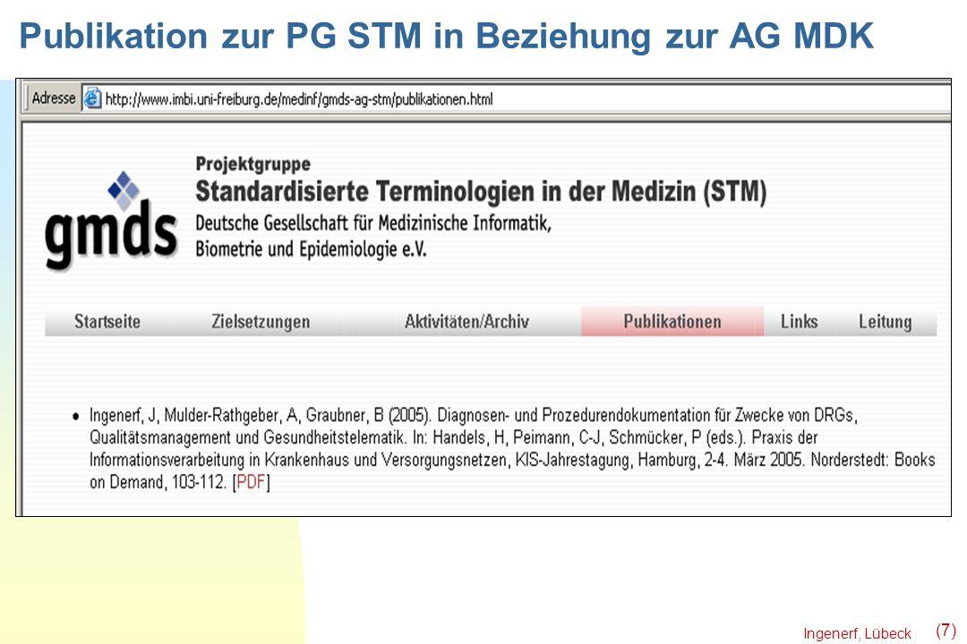 Publikation zur PG STM in Beziehung zur AG MDK