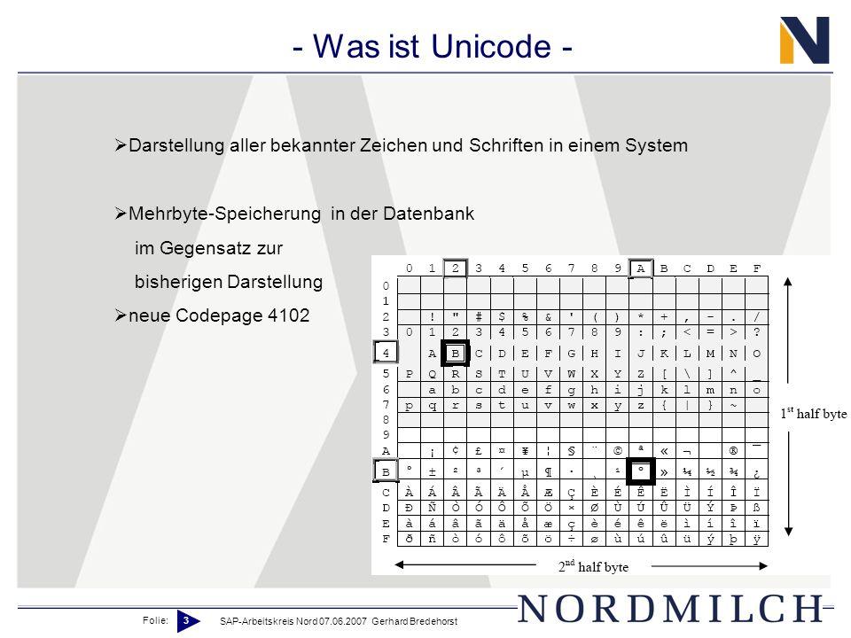 Was ist Unicode - Darstellung aller bekannter Zeichen und Schriften in einem System. Mehrbyte-Speicherung in der Datenbank.