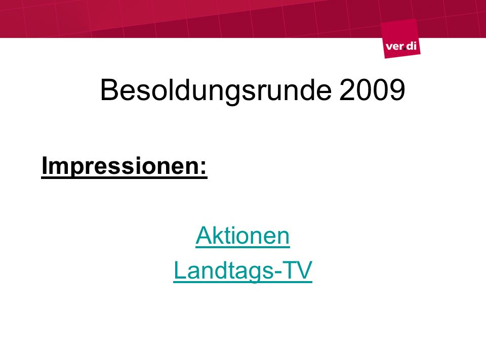 Besoldungsrunde 2009 Impressionen: Aktionen Landtags-TV