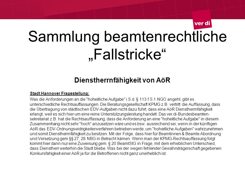 """Sammlung beamtenrechtliche """"Fallstricke"""