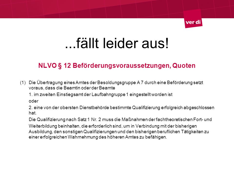 NLVO § 12 Beförderungsvoraussetzungen, Quoten
