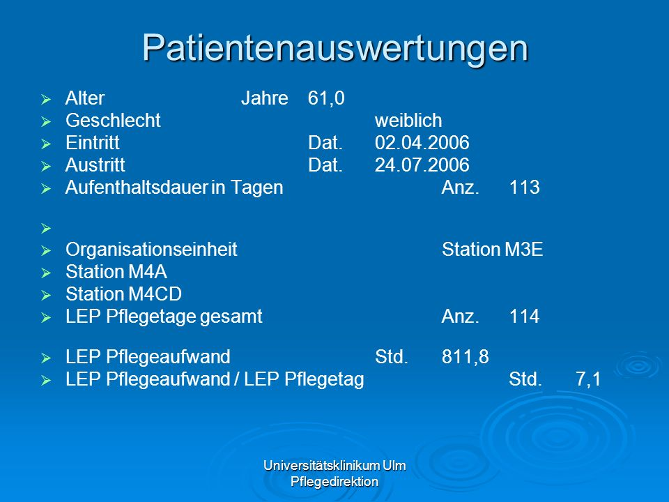 Patientenauswertungen