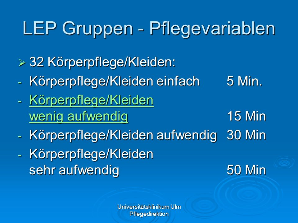 LEP Gruppen - Pflegevariablen