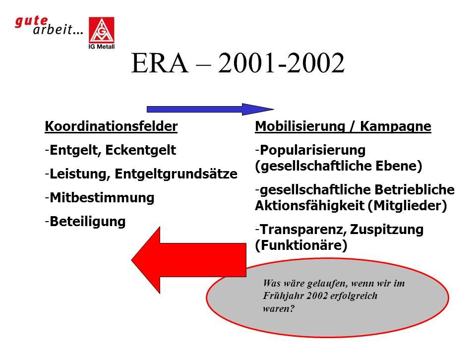 ERA – 2001-2002 Koordinationsfelder Entgelt, Eckentgelt