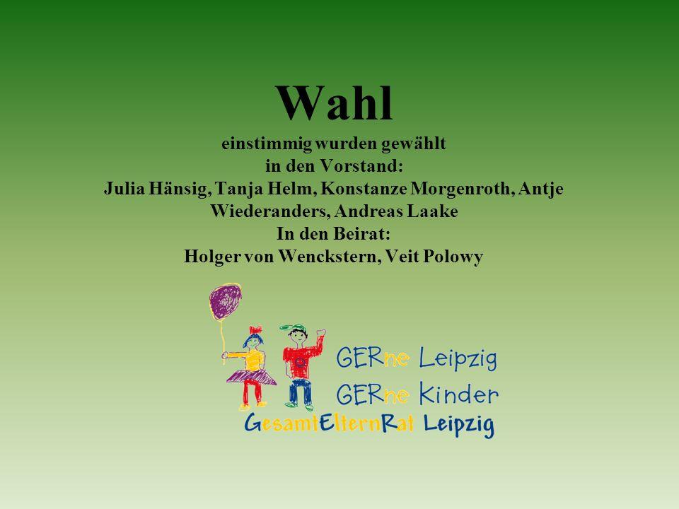 Wahl einstimmig wurden gewählt in den Vorstand: Julia Hänsig, Tanja Helm, Konstanze Morgenroth, Antje Wiederanders, Andreas Laake In den Beirat: Holger von Wenckstern, Veit Polowy