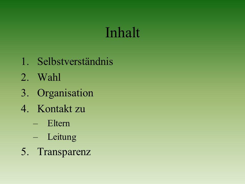 Inhalt Selbstverständnis Wahl Organisation Kontakt zu Transparenz