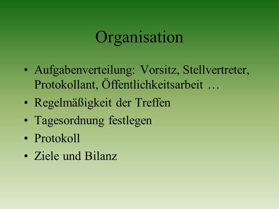 Organisation Aufgabenverteilung: Vorsitz, Stellvertreter, Protokollant, Öffentlichkeitsarbeit … Regelmäßigkeit der Treffen.