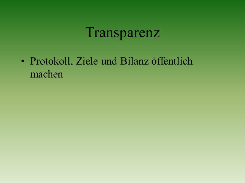 Transparenz Protokoll, Ziele und Bilanz öffentlich machen