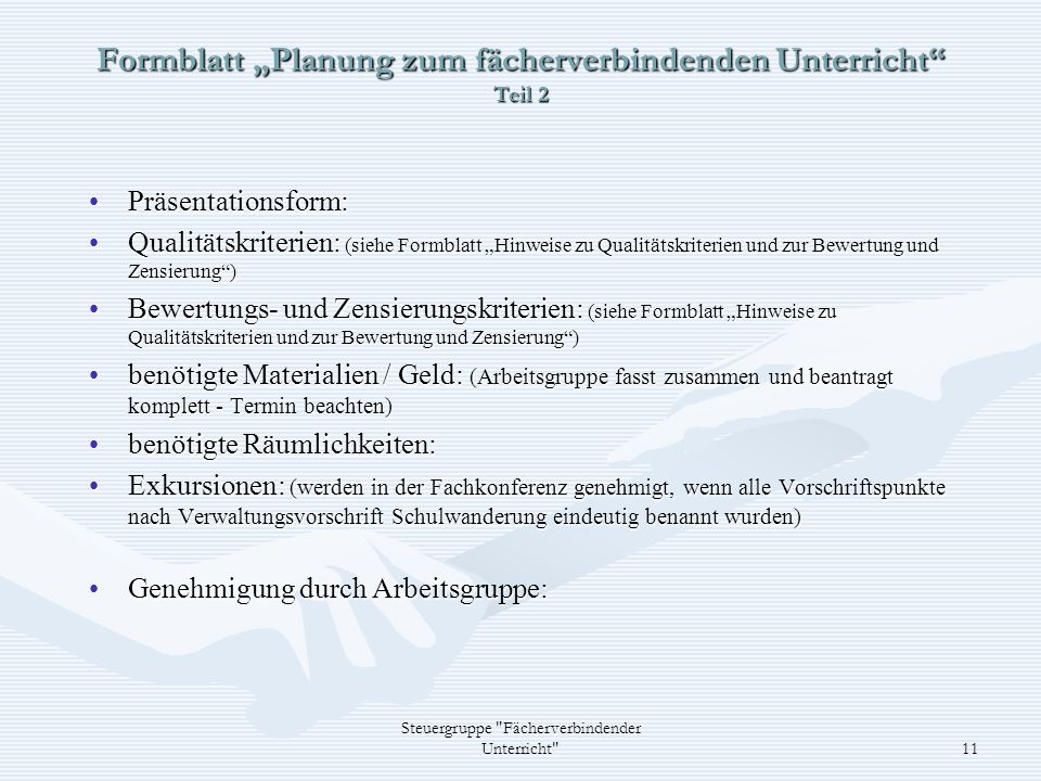 "Formblatt ""Planung zum fächerverbindenden Unterricht Teil 2"