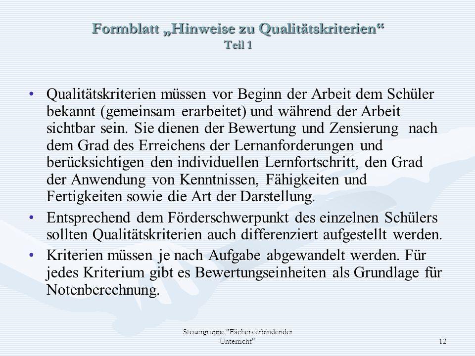 "Formblatt ""Hinweise zu Qualitätskriterien Teil 1"