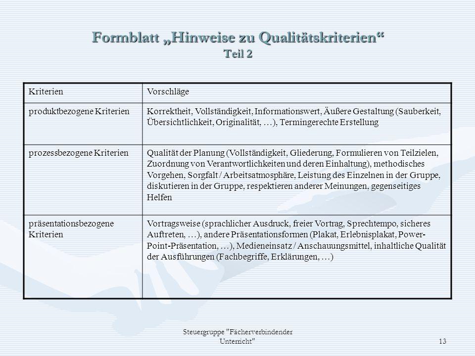 "Formblatt ""Hinweise zu Qualitätskriterien Teil 2"