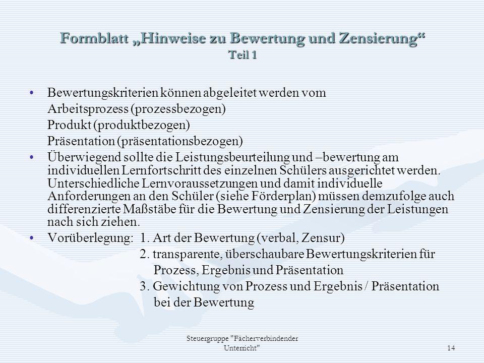 """Formblatt """"Hinweise zu Bewertung und Zensierung Teil 1"""