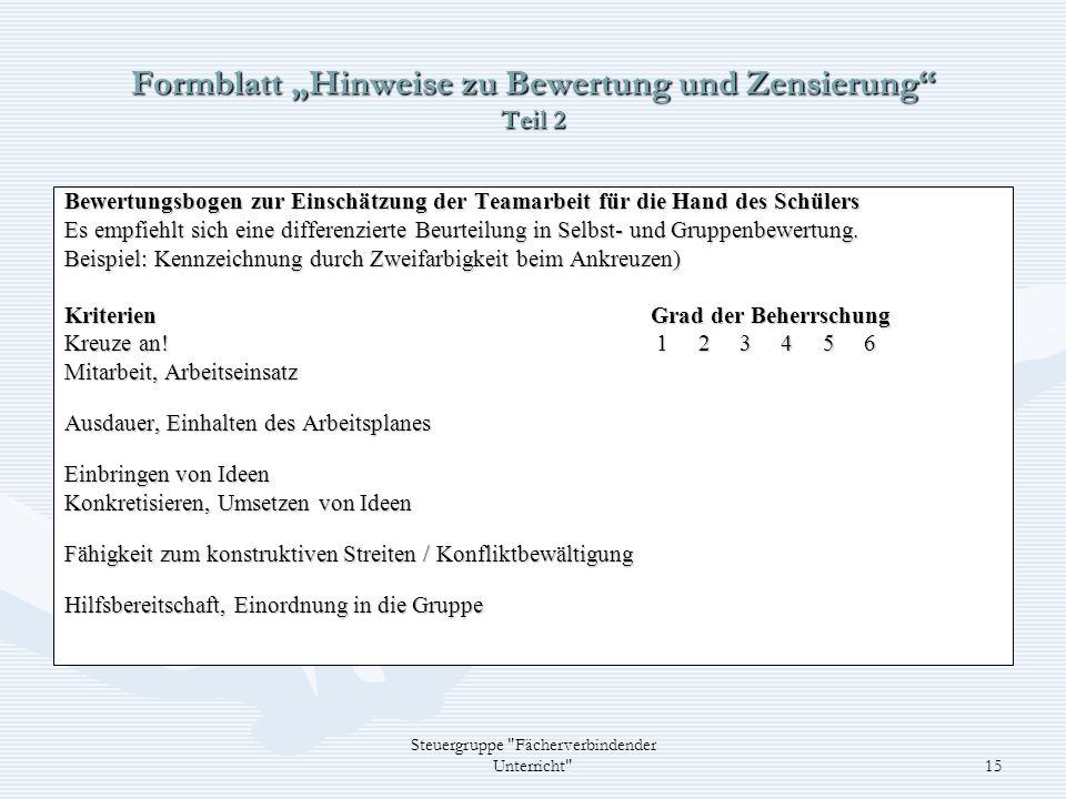 """Formblatt """"Hinweise zu Bewertung und Zensierung Teil 2"""